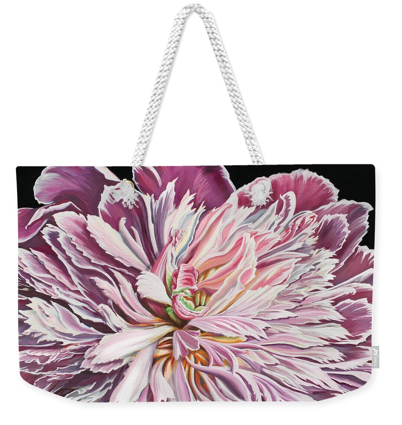 Flower Weekender Tote Bag featuring the painting Pink Peony by Jane Girardot