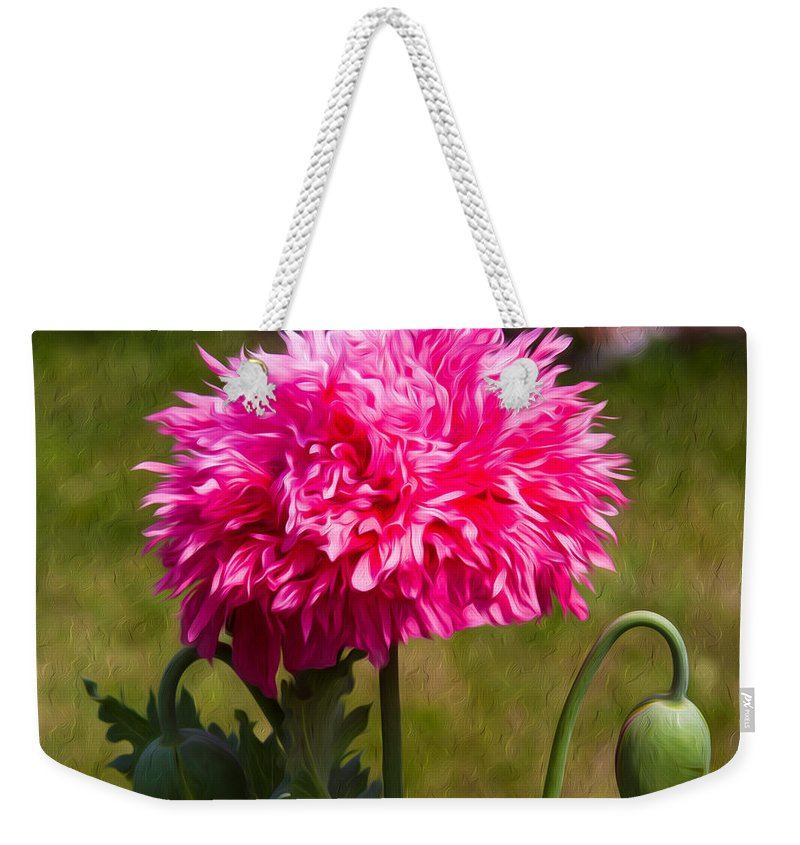 Poppy Weekender Tote Bag featuring the painting Pink Poppy by Omaste Witkowski