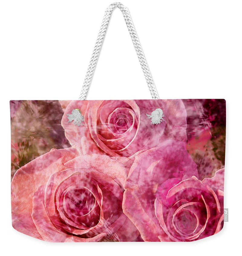 Roses Weekender Tote Bag featuring the photograph Pink Roses And Pearls by Phyllis Denton