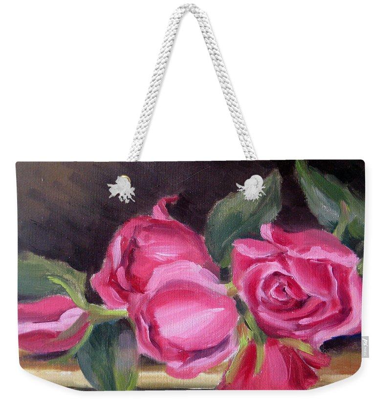 Roses Weekender Tote Bag featuring the painting Pink Roses by Karin Leonard