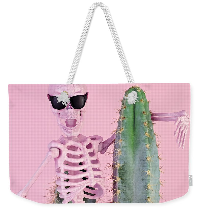 Cool Attitude Weekender Tote Bag featuring the photograph Pink Skeleton With Cactus by Juj Winn