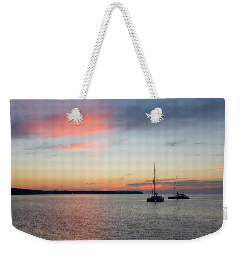 Scenics Weekender Tote Bag featuring the photograph Pink Sky After Sunset, Oia, Santorini by David C Tomlinson