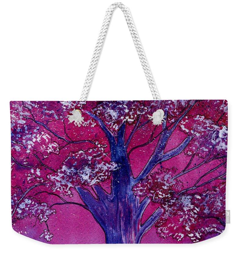 Watercolor Weekender Tote Bag featuring the painting Pink Spring Awakening by Brenda Owen