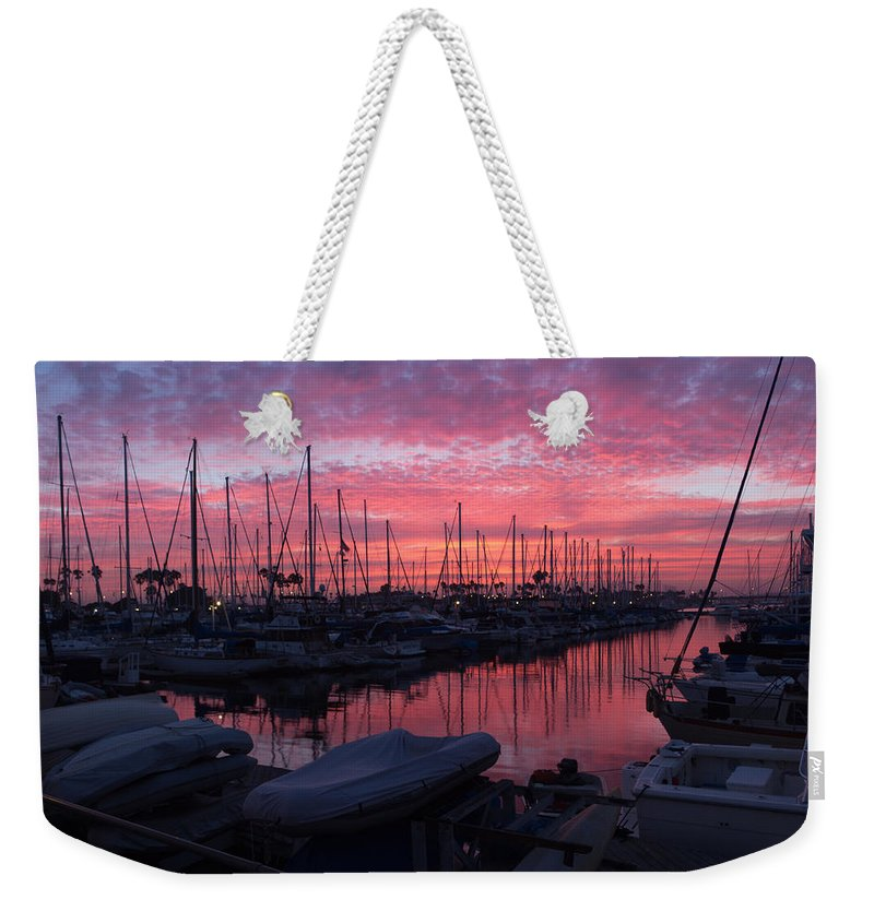 Marina Weekender Tote Bag featuring the photograph Pink Summer Sunset by Heidi Smith