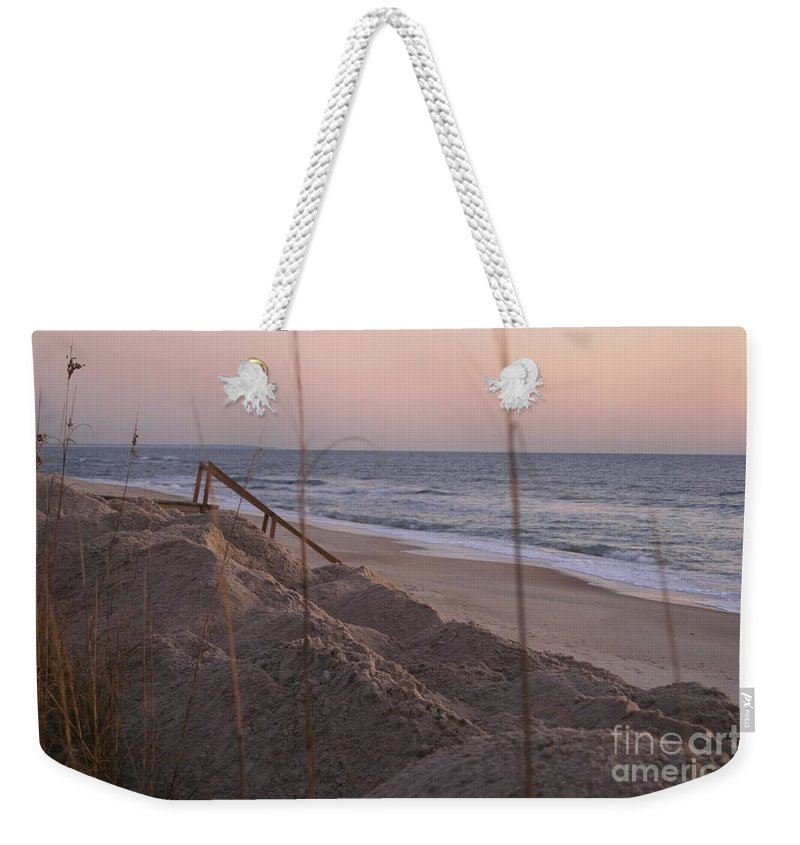 Pink Weekender Tote Bag featuring the photograph Pink Sunrise On The Beach by Nadine Rippelmeyer