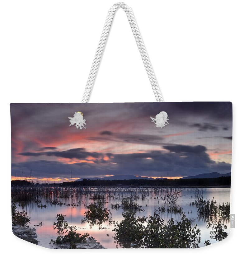 Sunset Weekender Tote Bag featuring the photograph Pink Sunset At The Lake by Guido Montanes Castillo