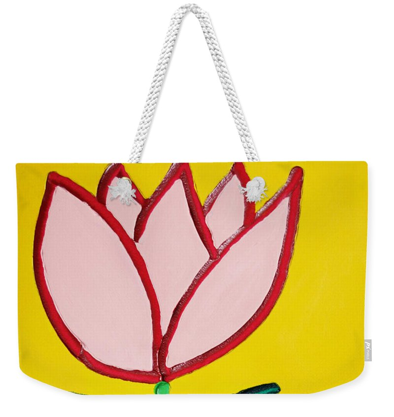 Tulip Weekender Tote Bag featuring the painting Pink Tulip by Matthew Brzostoski