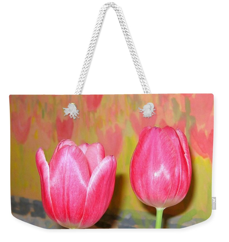 Pink Tulips Weekender Tote Bag featuring the photograph Pink Tulips by Will Borden
