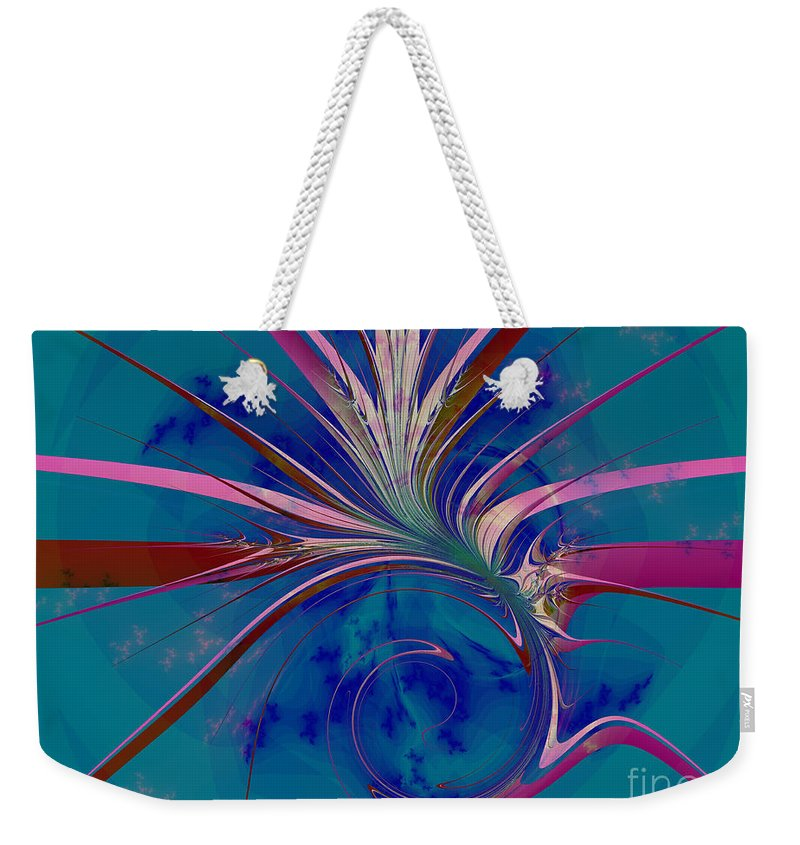 Fractal Art Weekender Tote Bag featuring the digital art Pink Yucca Twist by Elizabeth McTaggart