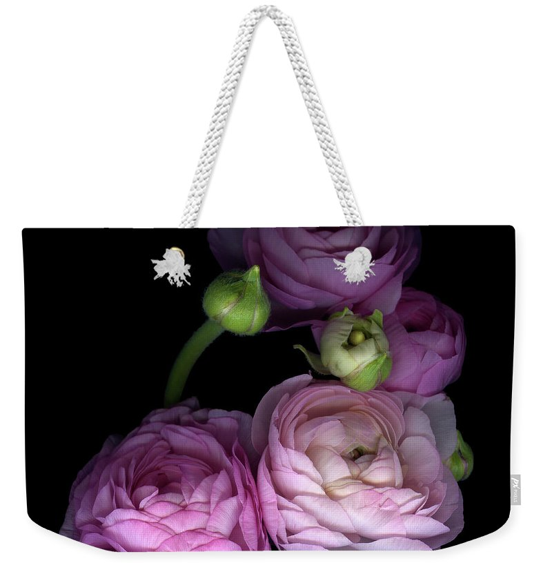 Bud Weekender Tote Bag featuring the photograph Pinkalicius Ranunculus... Pink For by Photograph By Magda Indigo