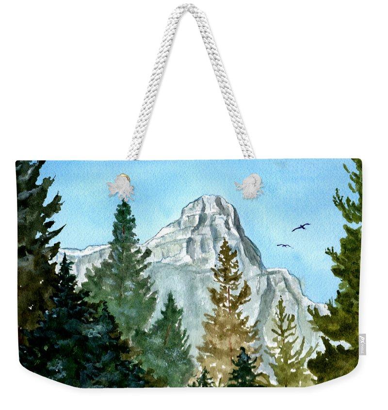 Watercolor Weekender Tote Bag featuring the painting Pinnacle by Brenda Owen