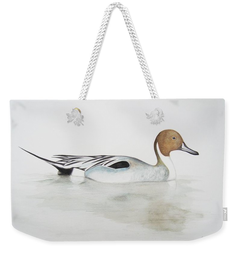 Duck; Brown; Beak; Bill; Feather; Water; Reflection Weekender Tote Bag featuring the painting Pintail Duck by Ele Grafton
