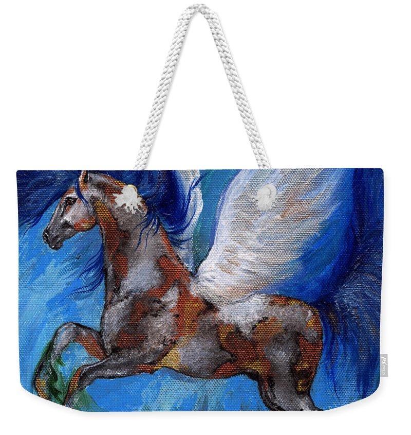 Fairytale Weekender Tote Bag featuring the painting Pinto Pegasus With Blue Mane by Angel Ciesniarska