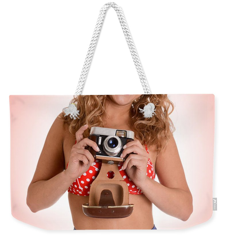 Photo Weekender Tote Bag featuring the photograph Pinup Photographer by Jt PhotoDesign
