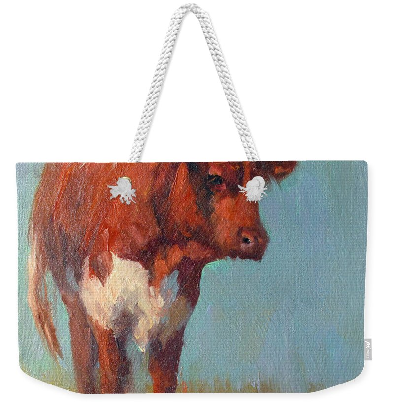 Weekender Tote Bag featuring the painting Pinzgauer Heifer by Susan Williamson