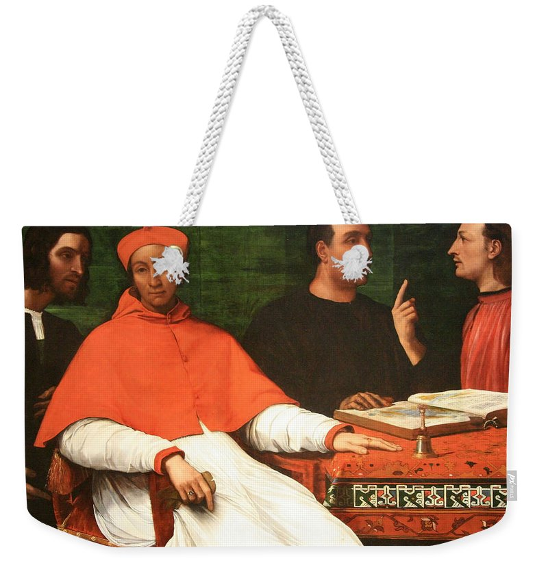Cardinal Bandinello Sauli Weekender Tote Bag featuring the photograph Piombo's Cardinal Bandinello Sauli And His Secretary And Two Geographers by Cora Wandel