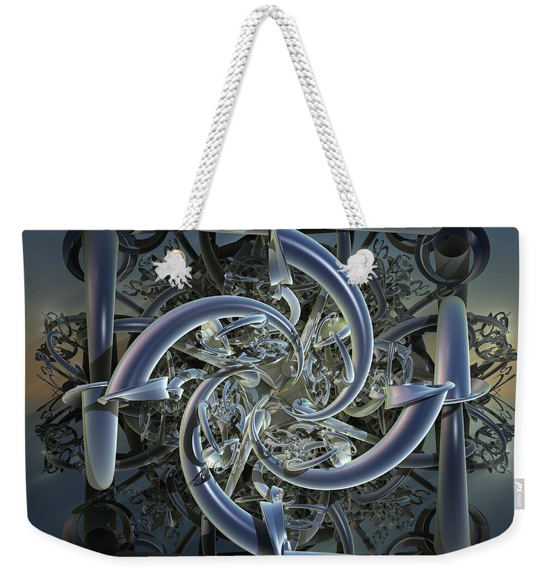 Incendia Weekender Tote Bag featuring the mixed media Pipes In Blue by Deborah Benoit