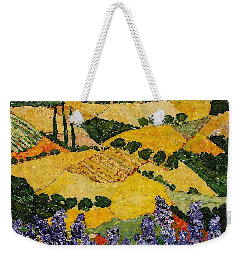 Landscape Weekender Tote Bag featuring the painting Piping Hot by Allan P Friedlander