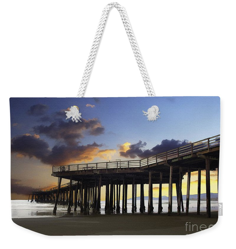 Pismo Pier Weekender Tote Bag featuring the digital art Pismo Pier by Sharon Foster