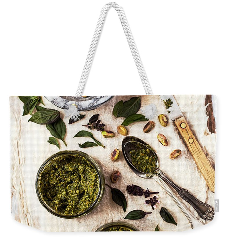 San Francisco Weekender Tote Bag featuring the photograph Pistachio Pesto With Mortar, Jars And by One Girl In The Kitchen