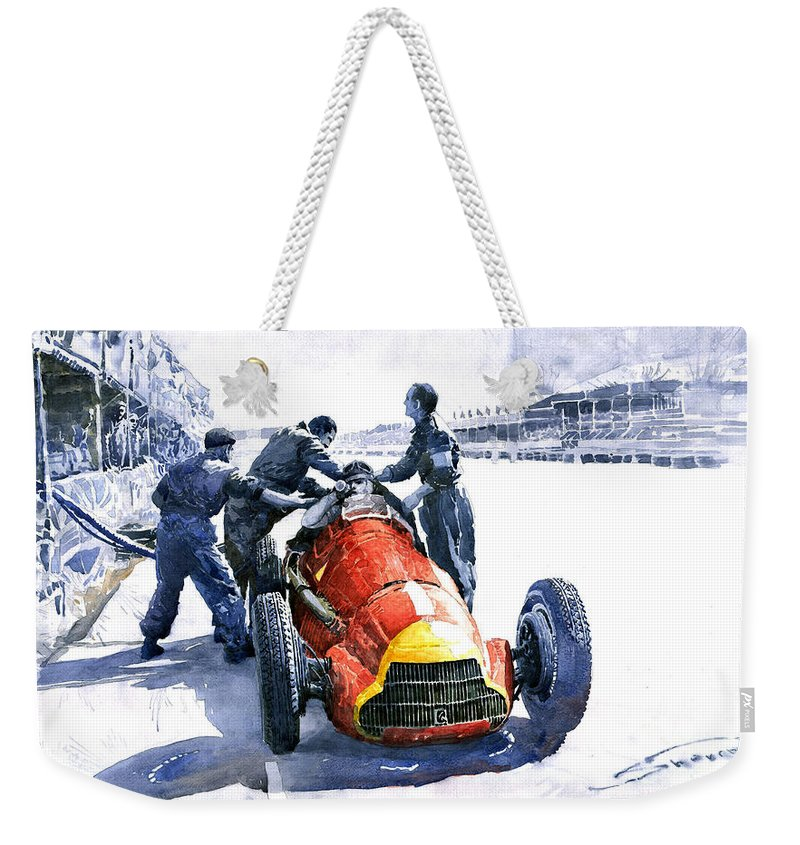 Alfaromeo158 Weekender Tote Bag featuring the painting Pit Stop Alfa Romeo158 British Gp 1950 J M Fangio by Yuriy Shevchuk