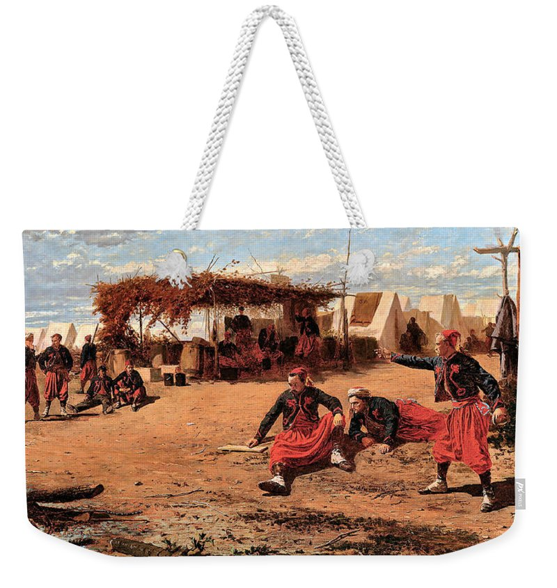 Winslow Homer Weekender Tote Bag featuring the digital art Pitching Quoits by Winslow Homer