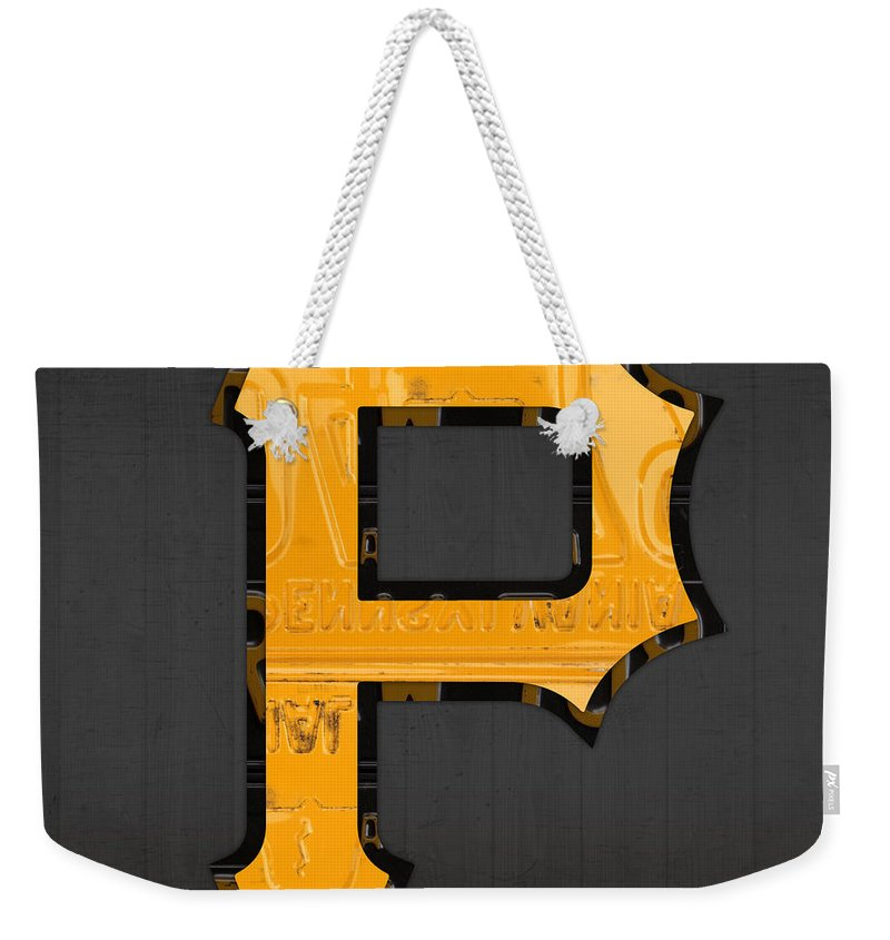 Pittsburgh Weekender Tote Bag featuring the mixed media Pittsburgh Pirates Baseball Vintage Logo License Plate Art by Design Turnpike