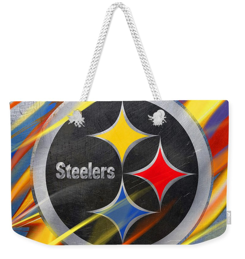 Pittsburgh Weekender Tote Bag featuring the painting Pittsburgh Steelers Football by Tony Rubino