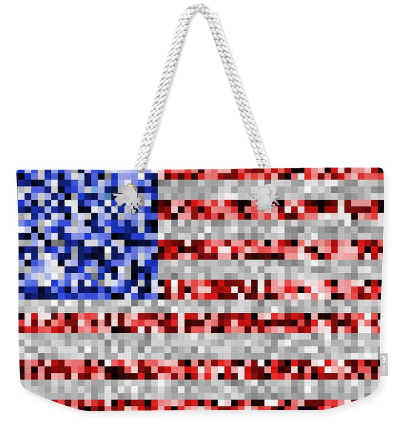 Flag Weekender Tote Bag featuring the digital art Pixel Flag by Ron Hedges