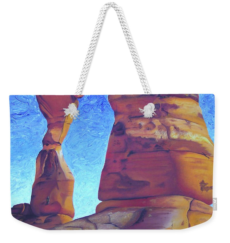 Moab Weekender Tote Bag featuring the painting Place Of Power by Joshua Morton