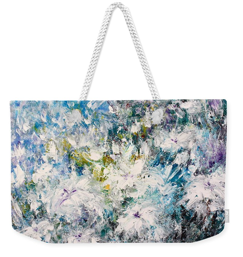 White Flowers Weekender Tote Bag featuring the painting Place Where The Flowers Bloom Forever by Kume Bryant