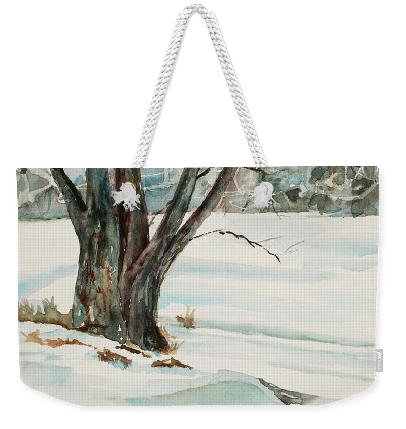 Snow Weekender Tote Bag featuring the painting Placid Winter Morning by Mary Benke