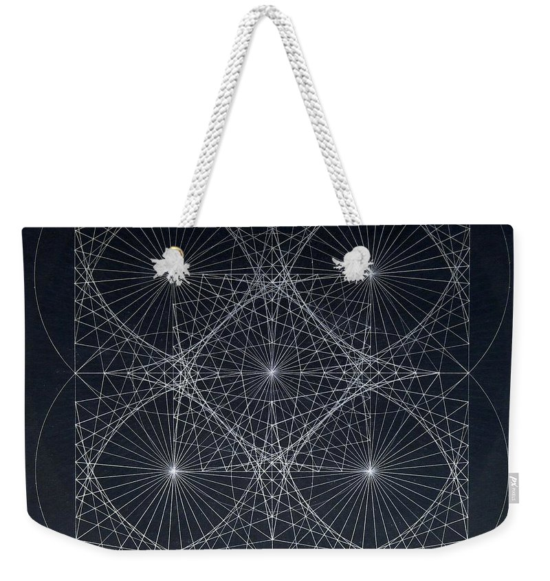 Weekender Tote Bag featuring the drawing Plancks Blackhole by Jason Padgett