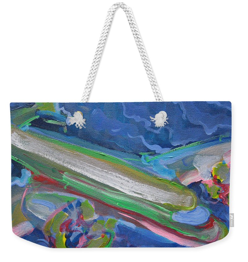 Airplane Weekender Tote Bag featuring the painting Plane Colorful by Jeff Seaberg