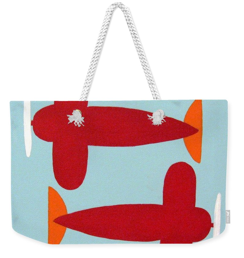 Kids Art Weekender Tote Bag featuring the painting Planes by Graciela Castro
