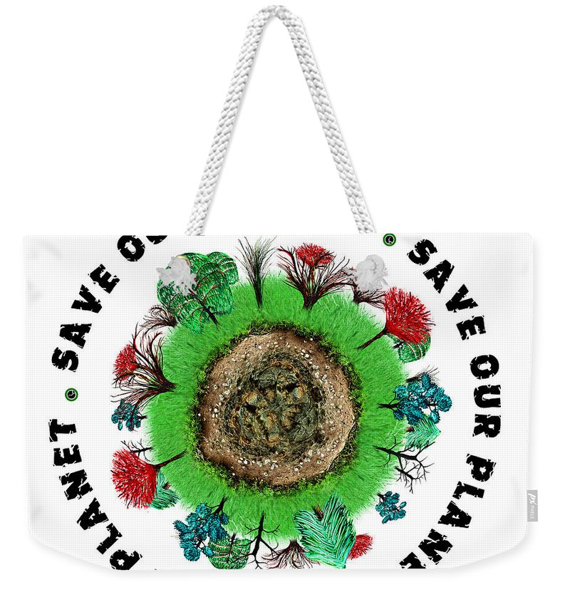 Planet Weekender Tote Bag featuring the painting Planet Earth Icon With Slogan by Simon Bratt Photography LRPS