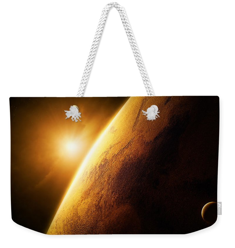 Mars Weekender Tote Bag featuring the photograph Planet Mars Close-up With Sunrise by Johan Swanepoel