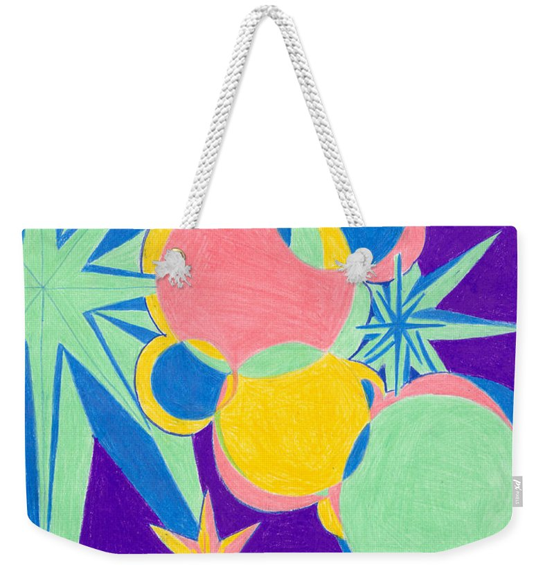 Color Weekender Tote Bag featuring the drawing Planets And Stars by Kim Sy Ok