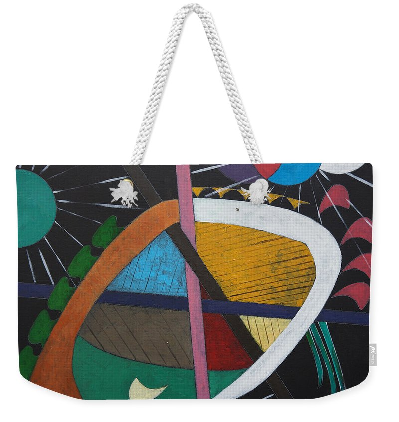Acrylic Weekender Tote Bag featuring the painting Planets by Sergey Bezhinets