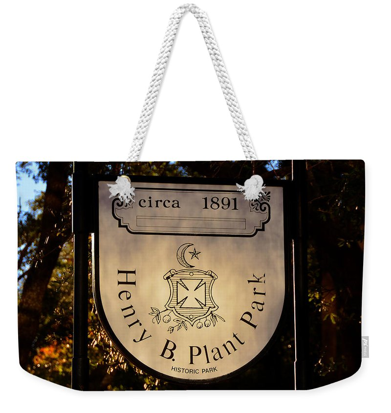 Henry B Plant Weekender Tote Bag featuring the photograph Plant Park Since 1891 by David Lee Thompson