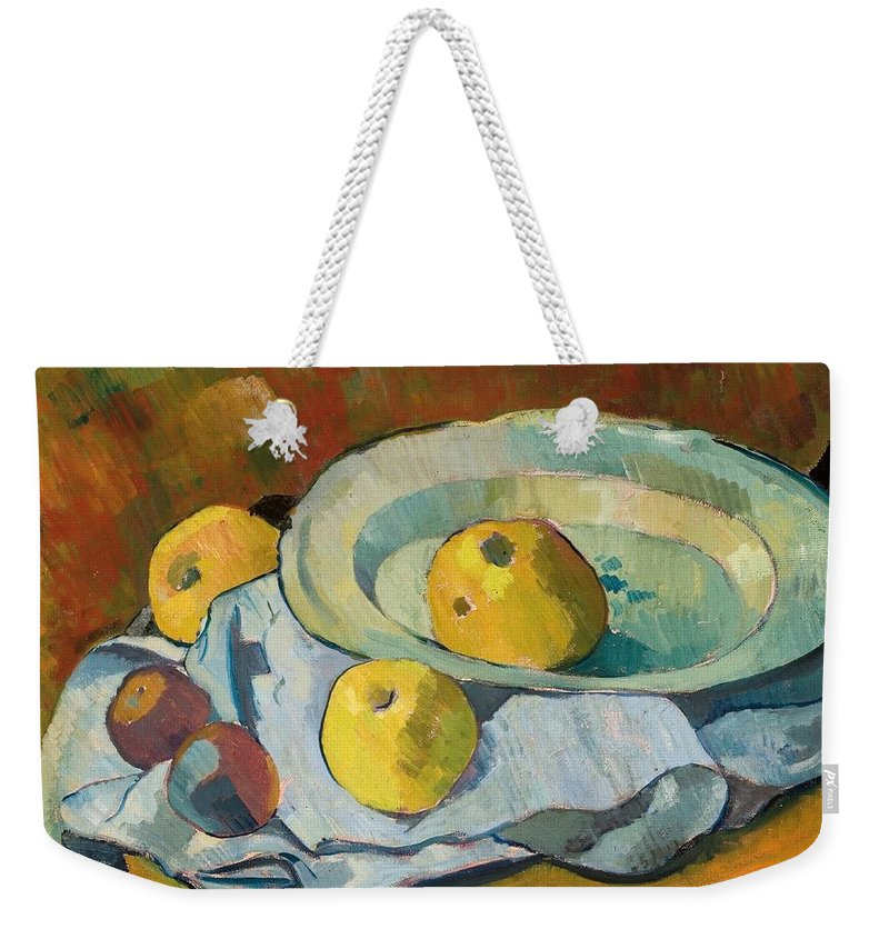 Still-life Weekender Tote Bag featuring the painting Plate Of Apples by Paul Serusier