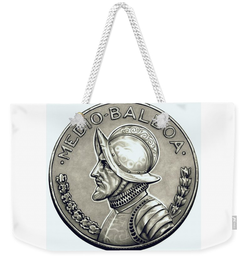 Coin Weekender Tote Bag featuring the drawing Platinum Balboa by Fred Larucci