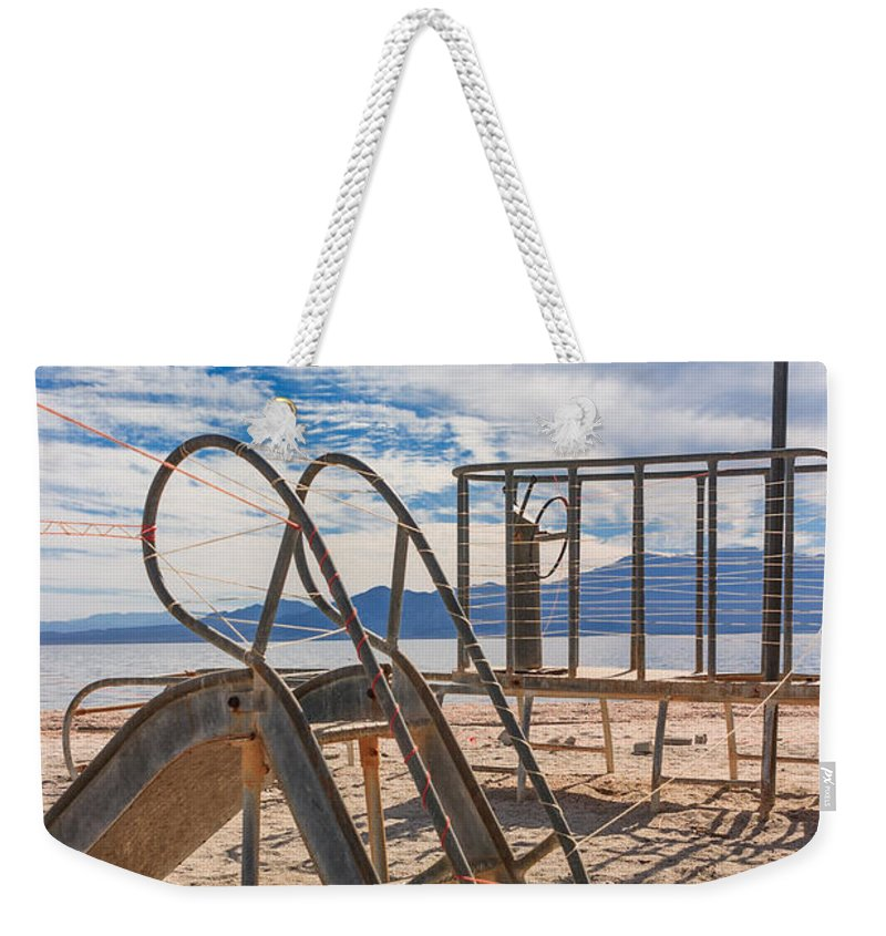 Salton Sea Weekender Tote Bag featuring the photograph Play Time Is Over Slide Playground by Scott Campbell