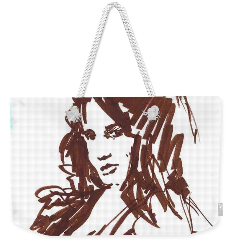 Playful Weekender Tote Bag featuring the drawing Playful by Seth Weaver