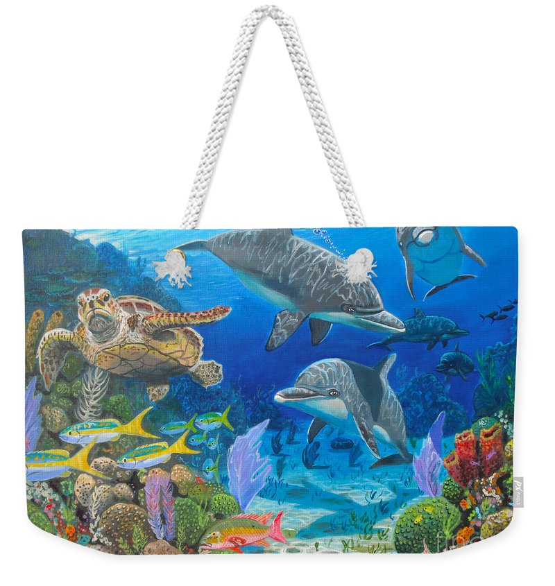Porpoise Weekender Tote Bag featuring the painting Playground Re004 by Carey Chen