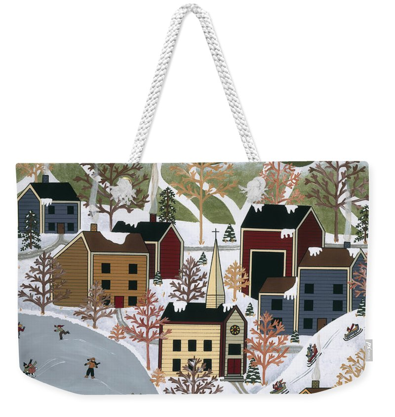Folk Art Weekender Tote Bag featuring the painting Playing In The Snow by Medana Gabbard