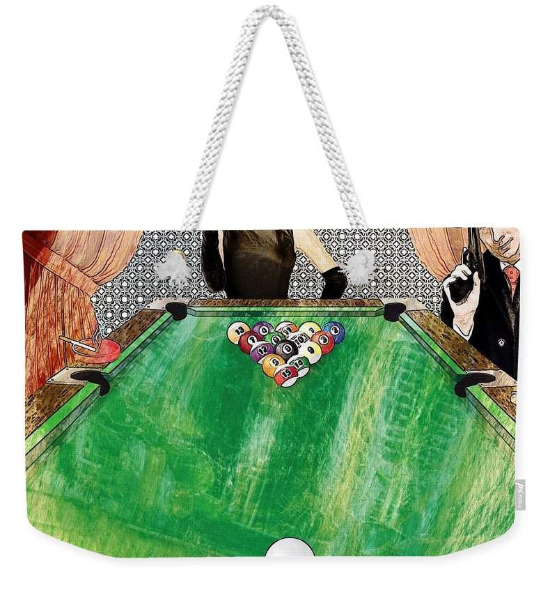 Curtains Weekender Tote Bag featuring the digital art Playing Pool My Way by Liane Wright