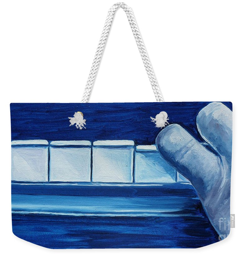 Piano Weekender Tote Bag featuring the painting Playing The Blues by Julie Brugh Riffey