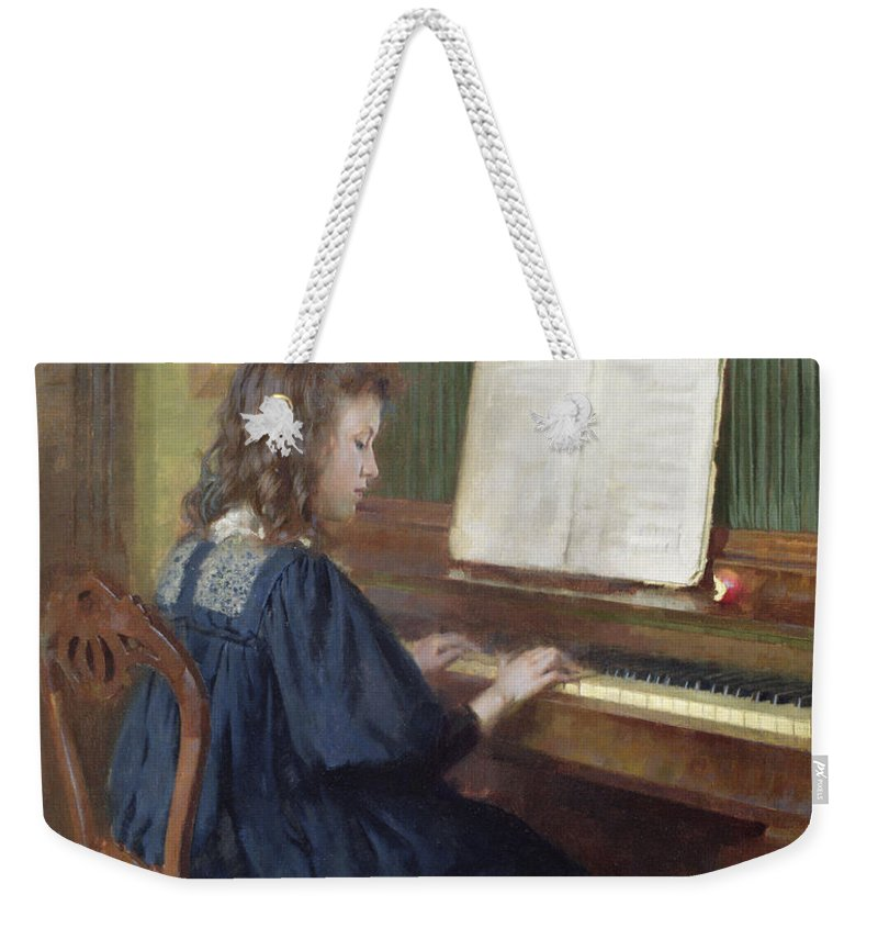 Playing The Piano Weekender Tote Bag featuring the painting Playing The Piano by Ernest Higgins Rigg