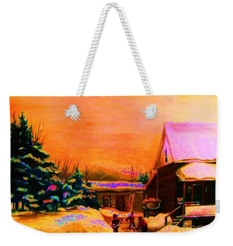 Hocket Art Weekender Tote Bag featuring the painting Playing Until The Sun Sets by Carole Spandau